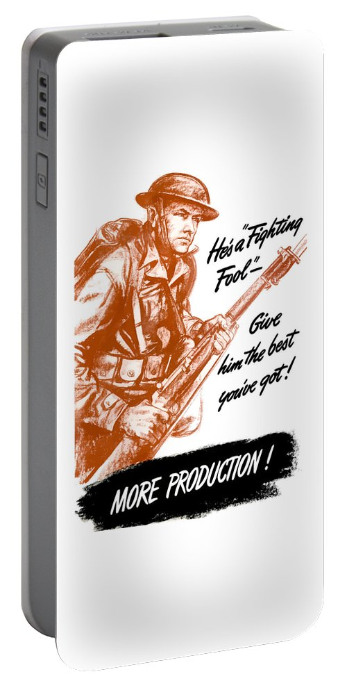 American Soldier Portable Battery Charger featuring the painting He's A Fighting Fool - More Production by War Is Hell Store