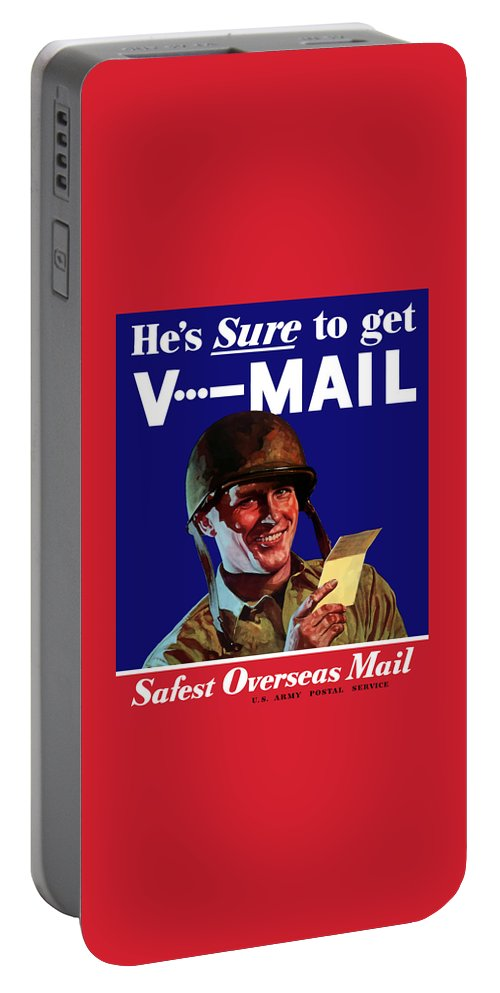 World War Ii Portable Battery Charger featuring the painting He's Sure To Get V-mail by War Is Hell Store