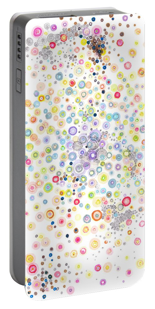 Circles Portable Battery Charger featuring the painting Heterogeneous by Regina Valluzzi