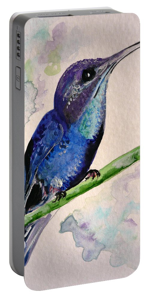 Hummingbird Painting Bird Painting Tropical Caribbean Painting Watercolor Painting Portable Battery Charger featuring the painting hHUMMINGBIRD 2  by Karin Dawn Kelshall- Best