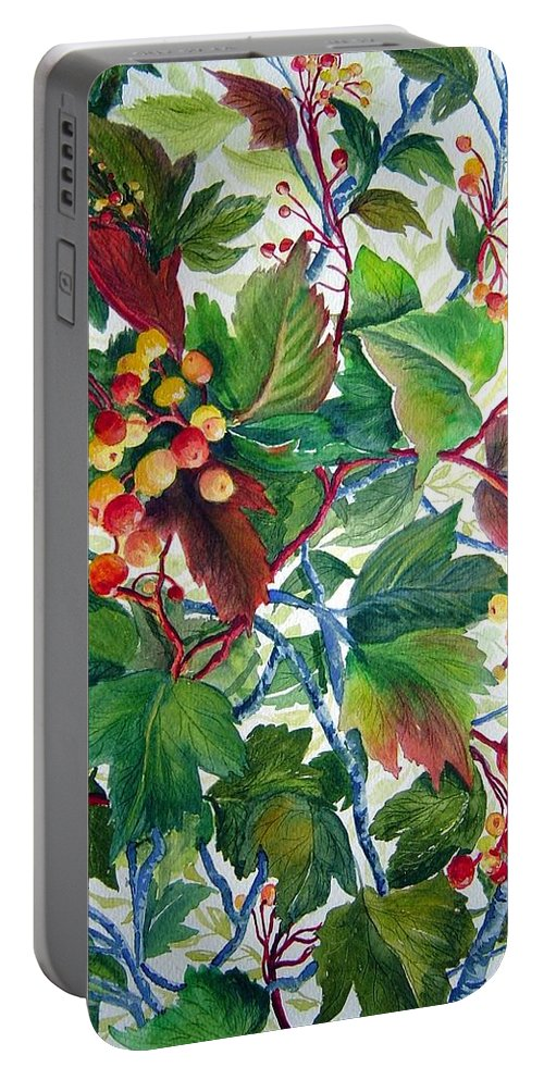 Hi Bush Cranberries Portable Battery Charger featuring the painting Hi-bush Cranberries by Joanne Smoley
