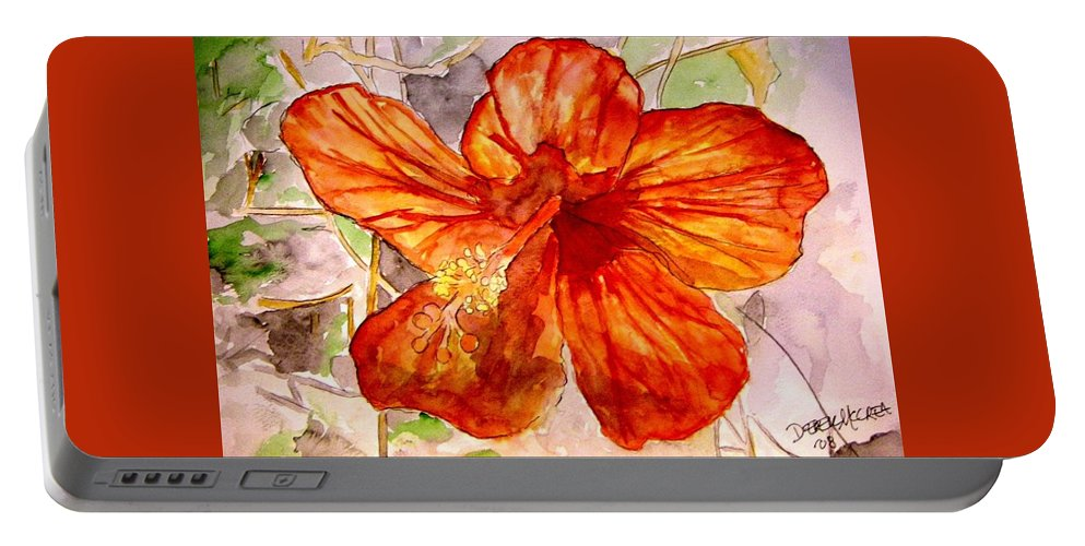 Hibiscus Portable Battery Charger featuring the painting Hibiscus 2 by Derek Mccrea