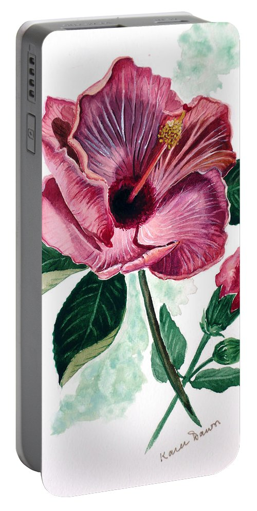 Flora Painting L Hibiscus Painting Pink Flower Painting Greeting Card Painting Portable Battery Charger featuring the painting Hibiscus Dusky Rose by Karin Dawn Kelshall- Best