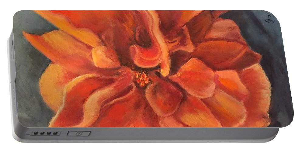 Flower Portable Battery Charger featuring the painting Hibiscus by Gloria Smith