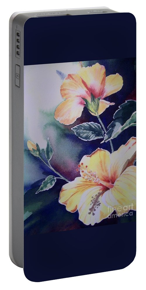 Hibiscus Portable Battery Charger featuring the painting Hibiscus by Kathleen Staab