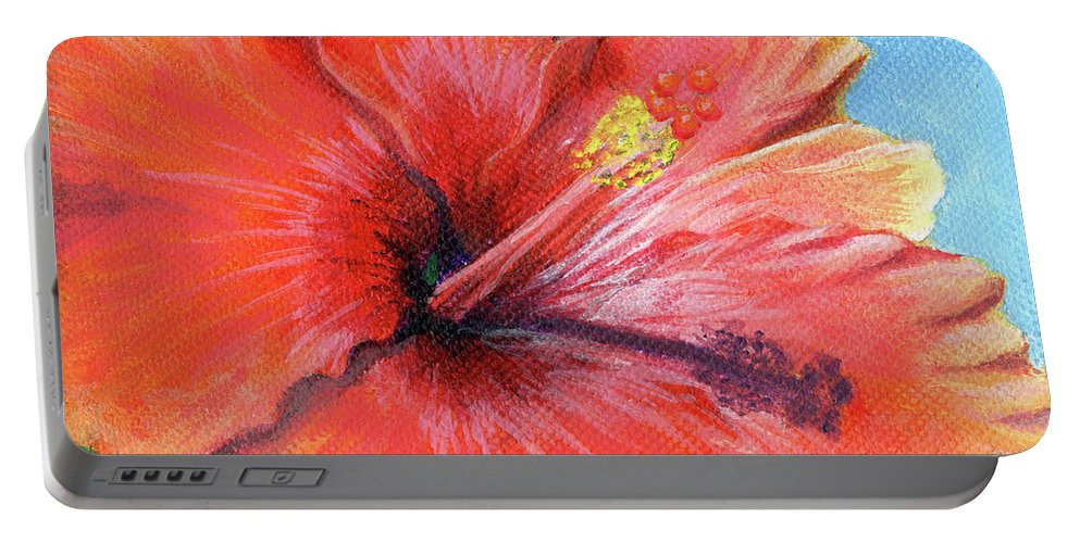 Hibiscus Portable Battery Charger featuring the painting Hibiscus Passion by Adam Johnson