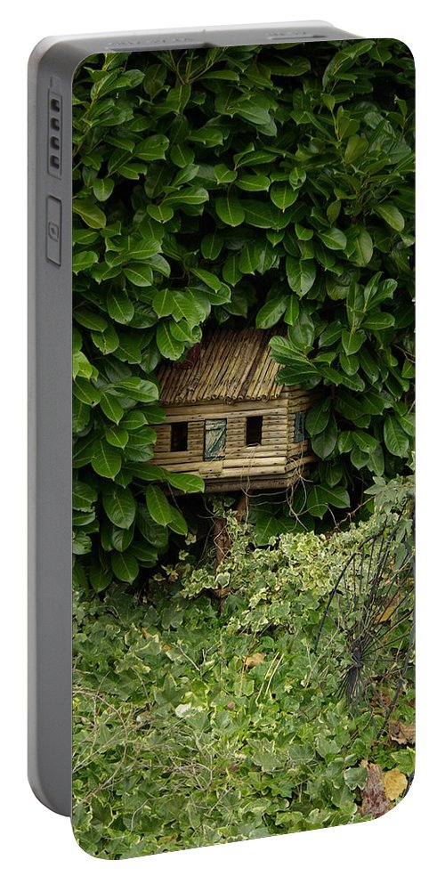 Hide Portable Battery Charger featuring the photograph Hidden Birdhouse by Cindy Johnston
