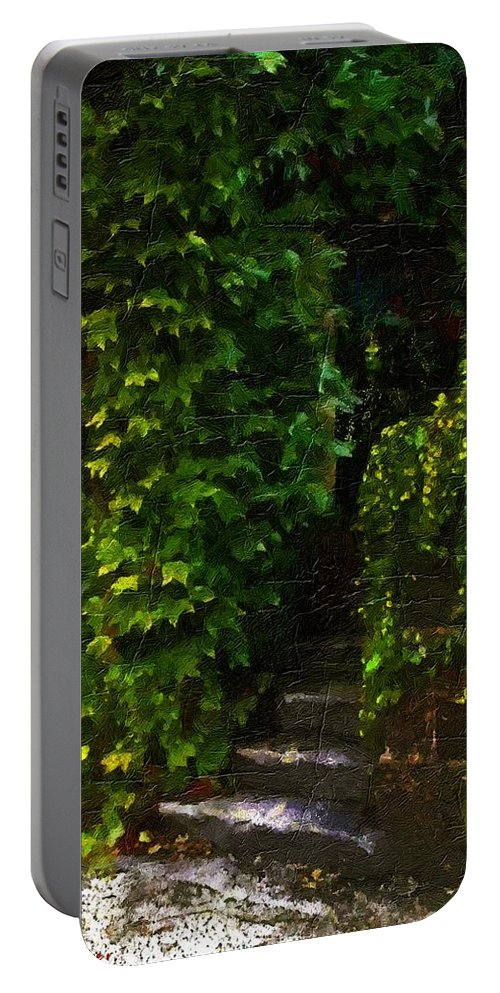 Cottage Portable Battery Charger featuring the painting Hidden Hermitage by RC DeWinter