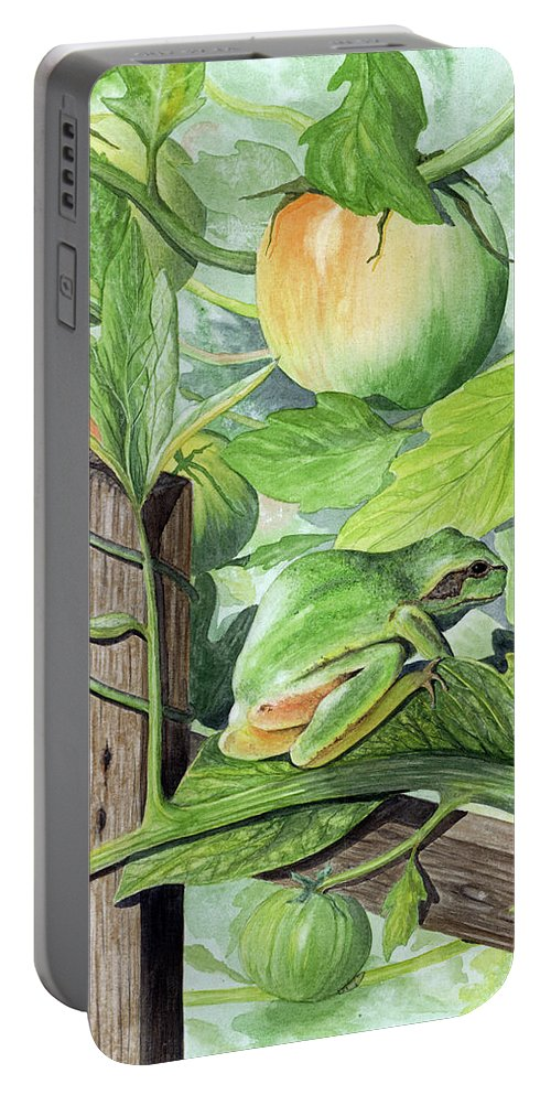 Frog Portable Battery Charger featuring the painting Hidden II by Mary Tuomi