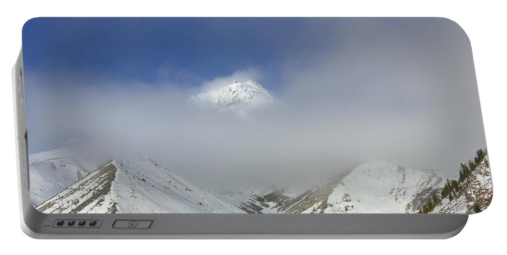 Mt. Hood Portable Battery Charger featuring the photograph Hidden In Fog by Mike Dawson