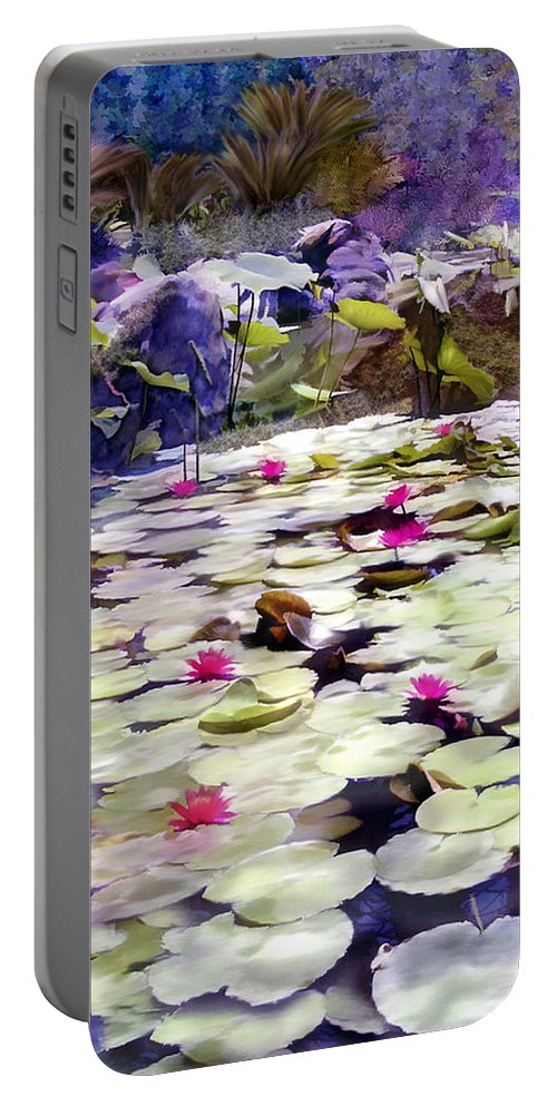 Lotus Portable Battery Charger featuring the photograph Hidden Pond Lotusland by Kurt Van Wagner
