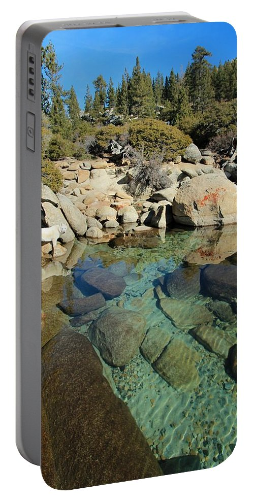 Lake Tahoe Portable Battery Charger featuring the photograph Hidden Shores by Sean Sarsfield