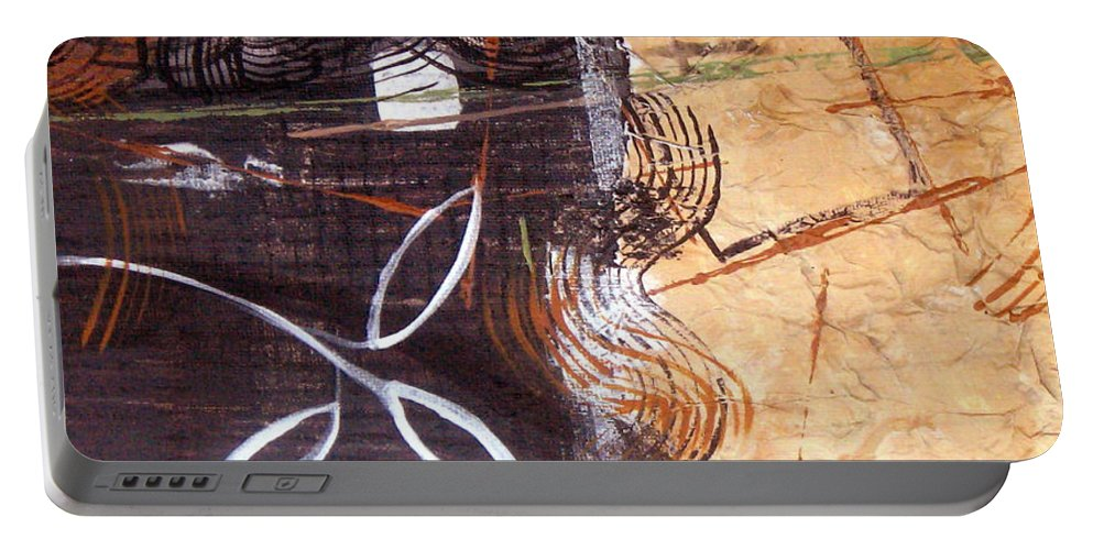 Abstract Portable Battery Charger featuring the painting Hidden Treasures by Ruth Palmer