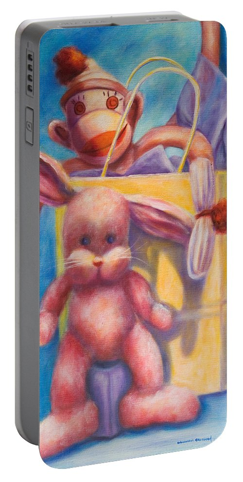 Children Portable Battery Charger featuring the painting Hide And Seek by Shannon Grissom