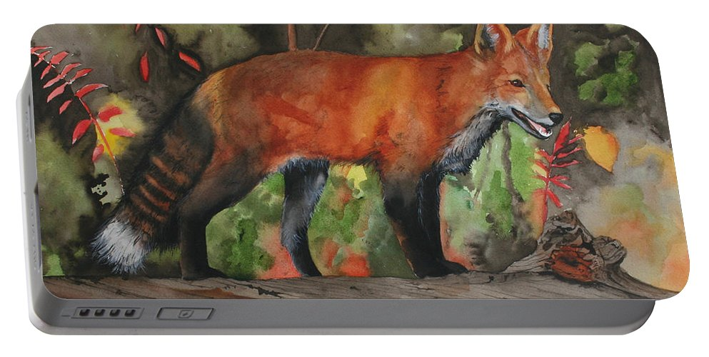 Fox Portable Battery Charger featuring the painting Hiding In Plain Sight by Jean Blackmer