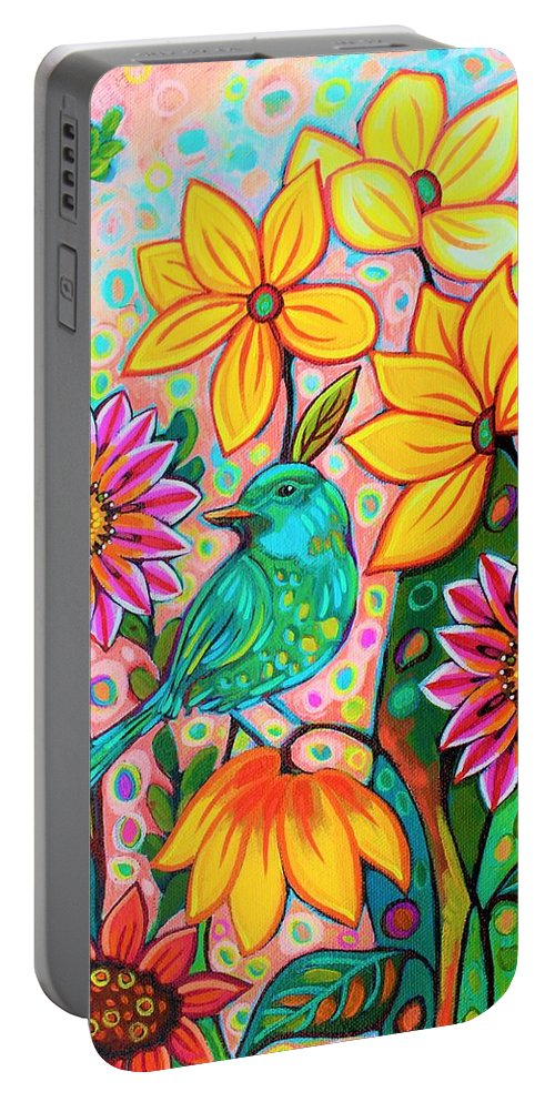 Portable Battery Charger featuring the painting Hiding Out by Peggy Davis