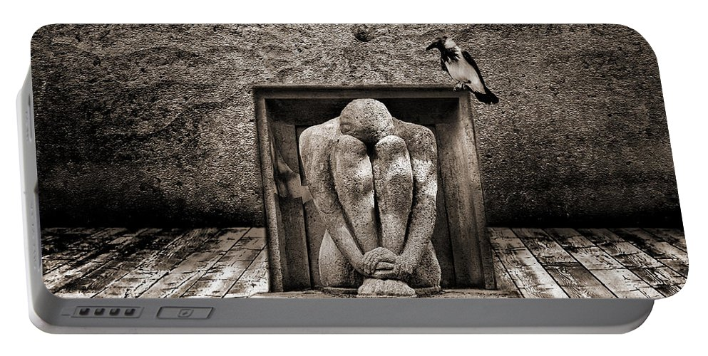 Dark Portable Battery Charger featuring the digital art Hiding by Jacky Gerritsen
