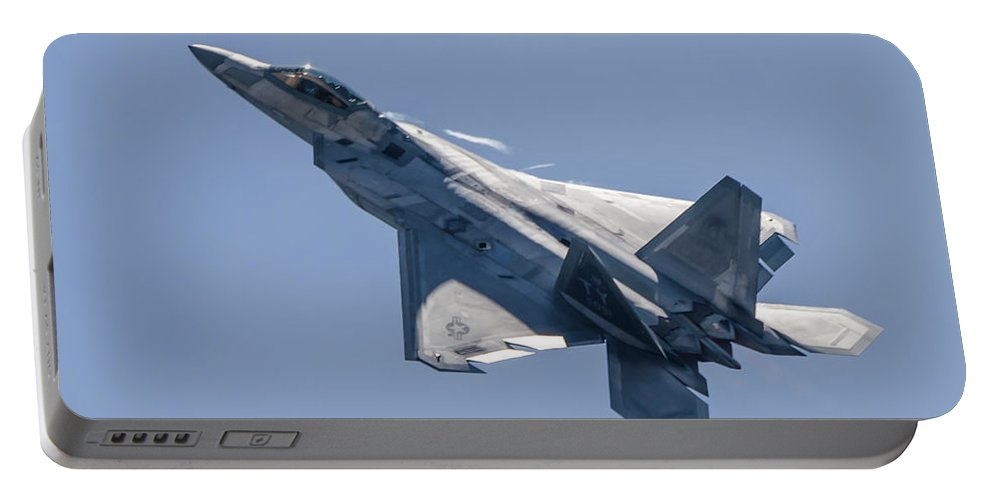F-22 Raptor Portable Battery Charger featuring the photograph High Angle Of Attack by Josh Vaughn