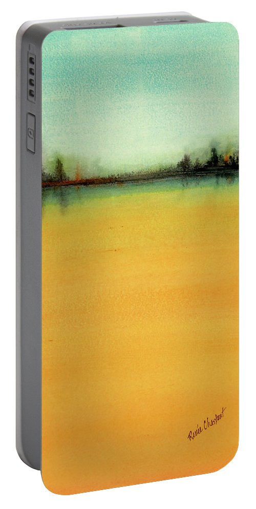 Landscape Portable Battery Charger featuring the painting High Blue by Renee Chastant