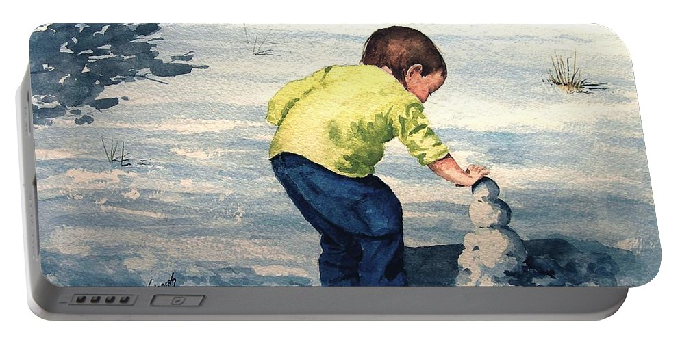 Child Portable Battery Charger featuring the painting High Country Snow Girl by Sam Sidders