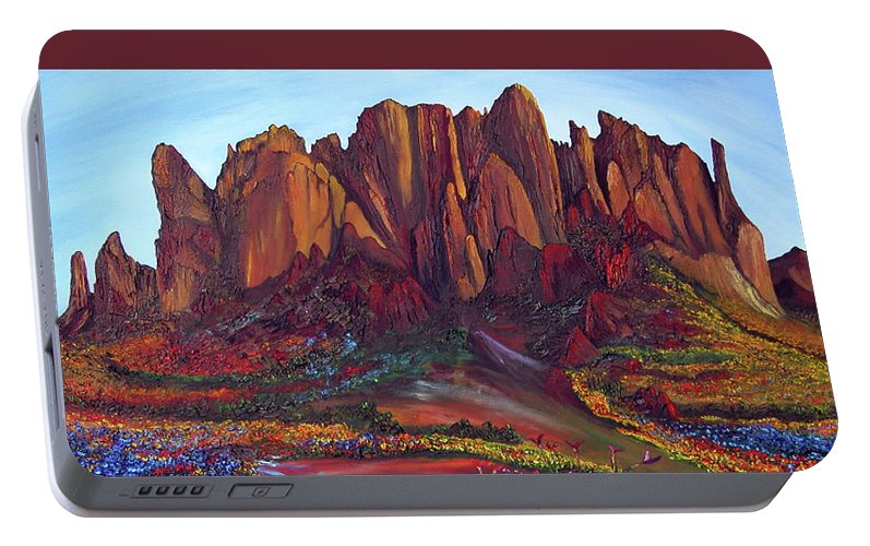 Landscape Portable Battery Charger featuring the painting High Desert Spring by Terry R MacDonald