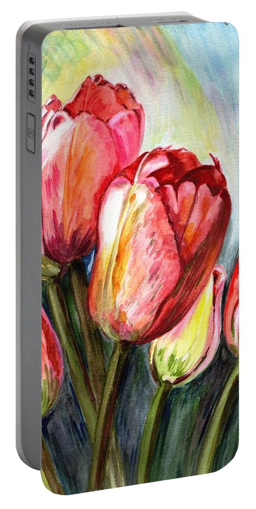 Tulips Portable Battery Charger featuring the painting High In The Sky by Harsh Malik