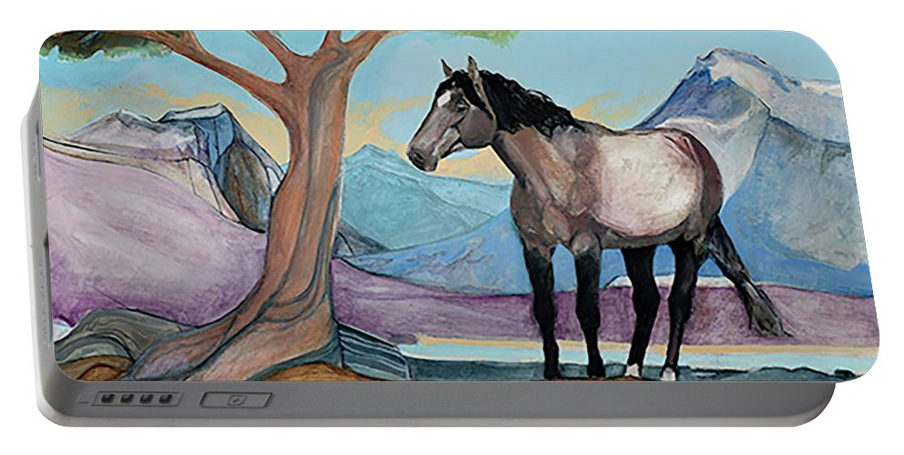 Montana Mustang In A High Meadow Portable Battery Charger featuring the painting High Meadow Mustang by Blair Denny