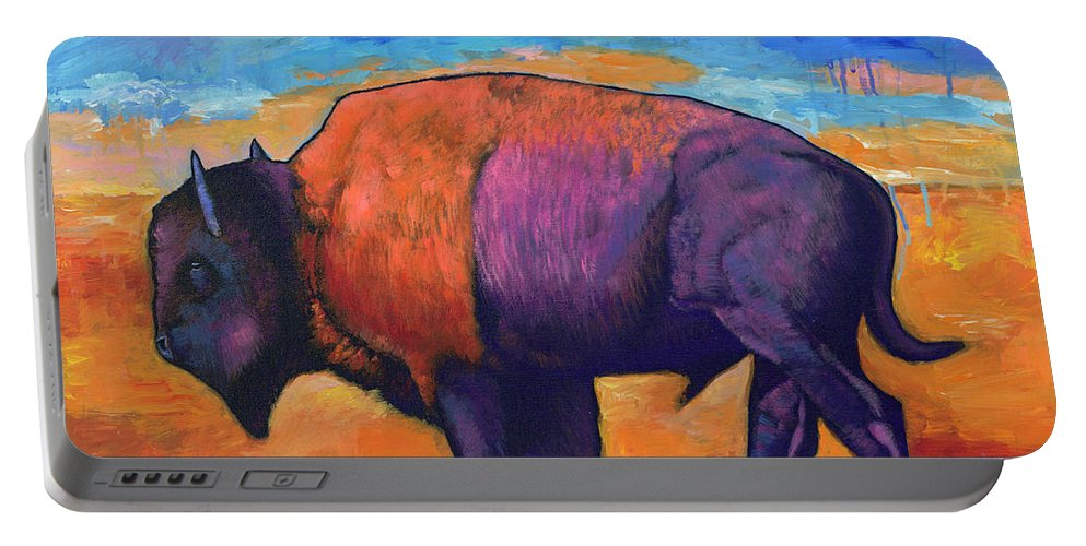 Animals Portable Battery Charger featuring the painting High Plains Drifter by Johnathan Harris