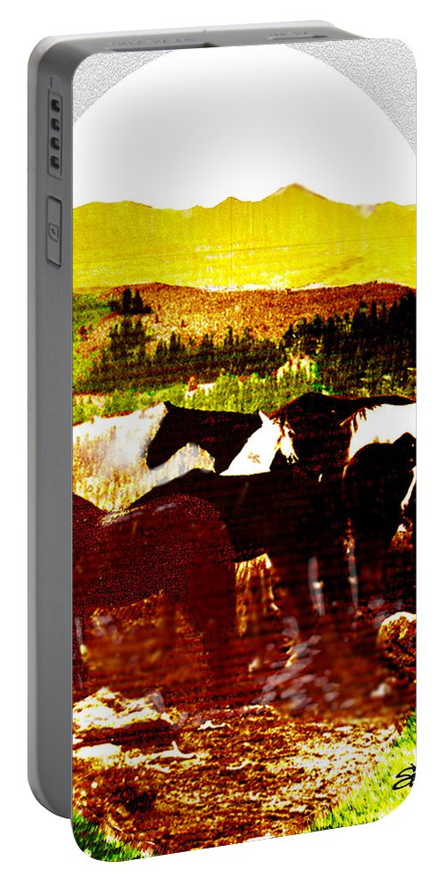 Mustangs Portable Battery Charger featuring the digital art High Plains Horses by Seth Weaver