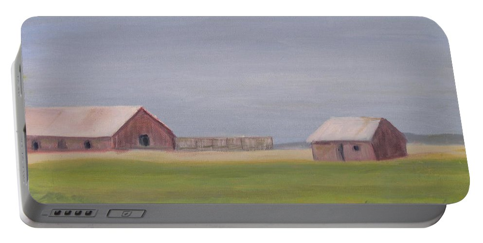 Landscape Plains Barn Portable Battery Charger featuring the painting High Plains by Patricia Caldwell