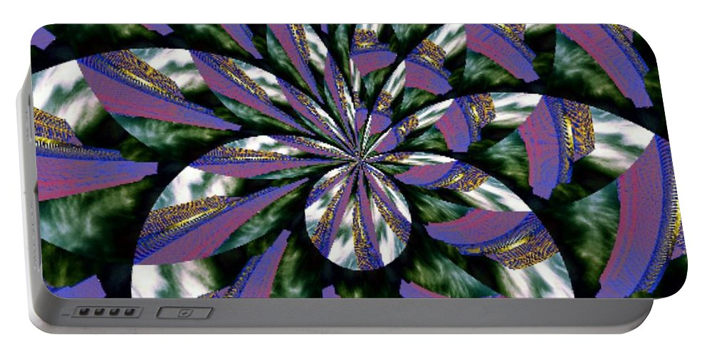 Abstract Portable Battery Charger featuring the digital art Highrise Kaleidoscope by Tim Allen