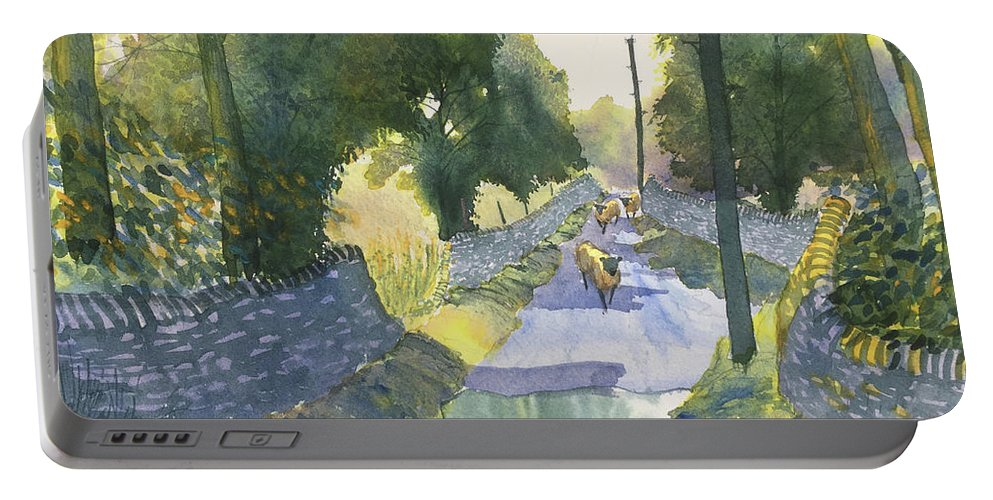 Glenn Marshall Portable Battery Charger featuring the painting Highway Patrol by Glenn Marshall