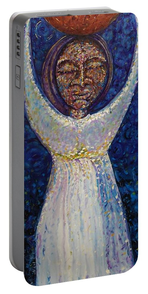 Moon Portable Battery Charger featuring the painting Hija De La Luna by Andres A Garcia-Velez