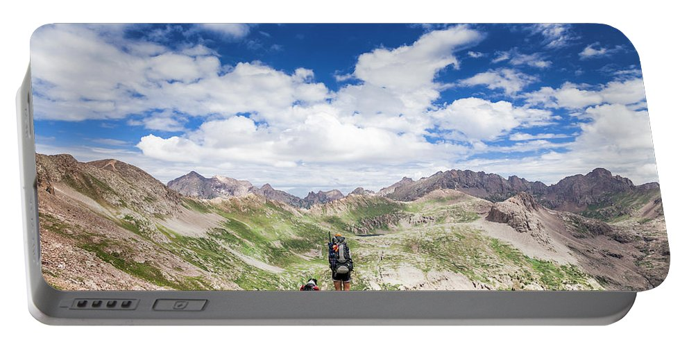 Pet Portable Battery Charger featuring the photograph Hiker And Dog by Olivier Steiner