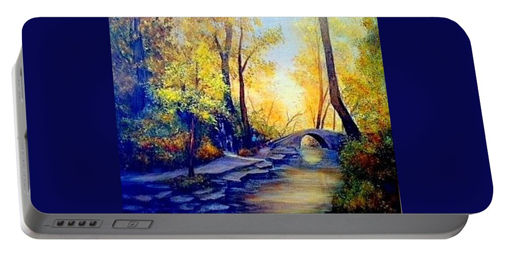 Woods Portable Battery Charger featuring the painting Hiking by Gail Kirtz