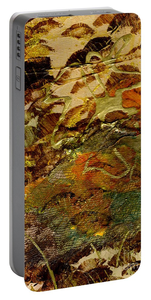 Hiking Portable Battery Charger featuring the mixed media Hiking II by Angela L Walker