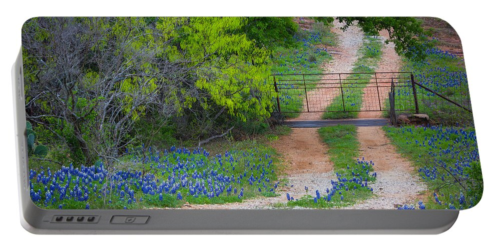 America Portable Battery Charger featuring the photograph Hill Country Road by Inge Johnsson