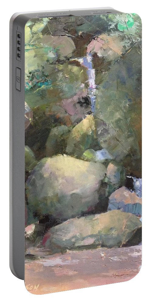 Landscape Portable Battery Charger featuring the painting Hill Side Spring by R W Carlson