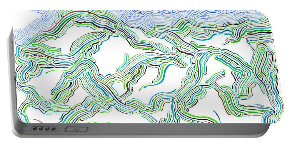 Mazes Portable Battery Charger featuring the drawing Hills by Steven Natanson