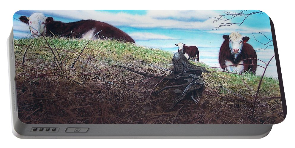 Steers Portable Battery Charger featuring the painting Hillside Retreat by Denny Bond