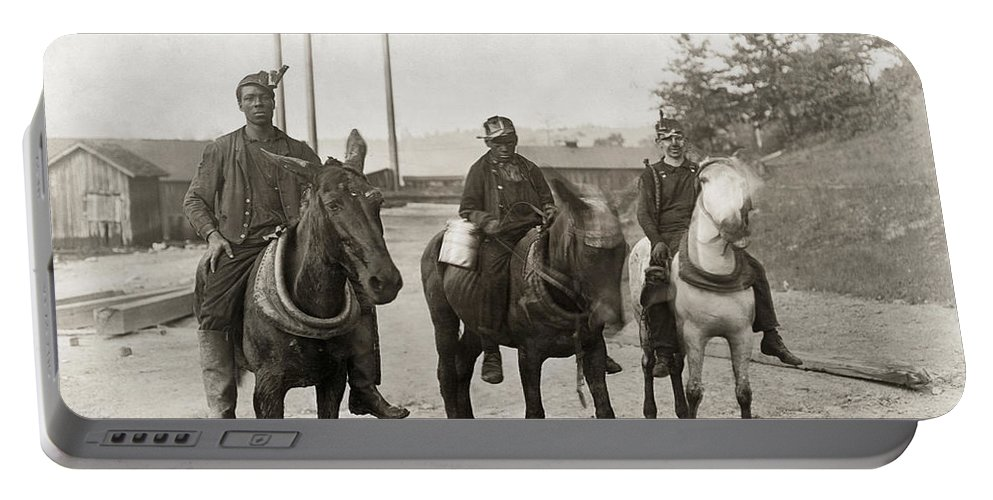 1908 Portable Battery Charger featuring the photograph Hine: Coal Miners, 1908 by Granger