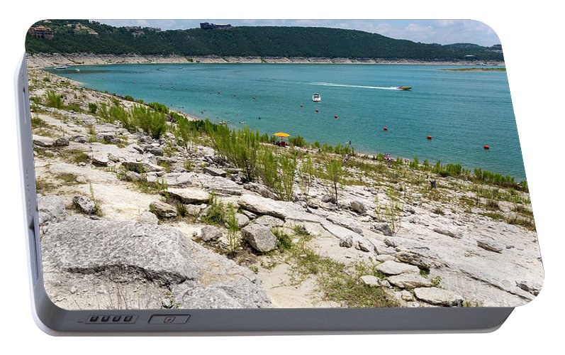 Hippie Hollow Portable Battery Charger featuring the photograph Hippie  Hollow Park Is A Nudist Park On