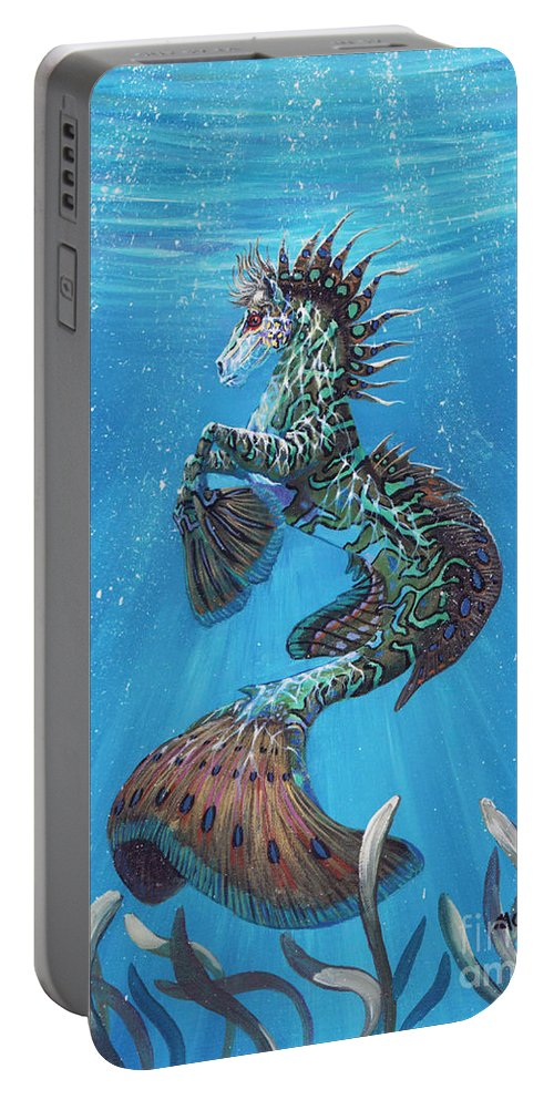 Seahorse Portable Battery Charger featuring the painting Hippocampus by Stanley Morrison