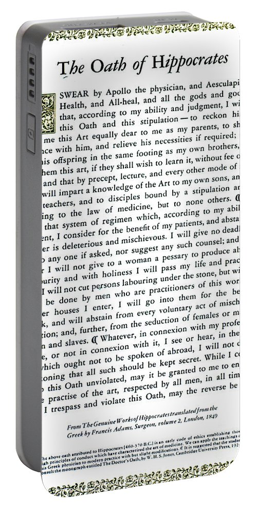 Science Portable Battery Charger featuring the photograph Hippocratic Oath, 1938 by Science Source