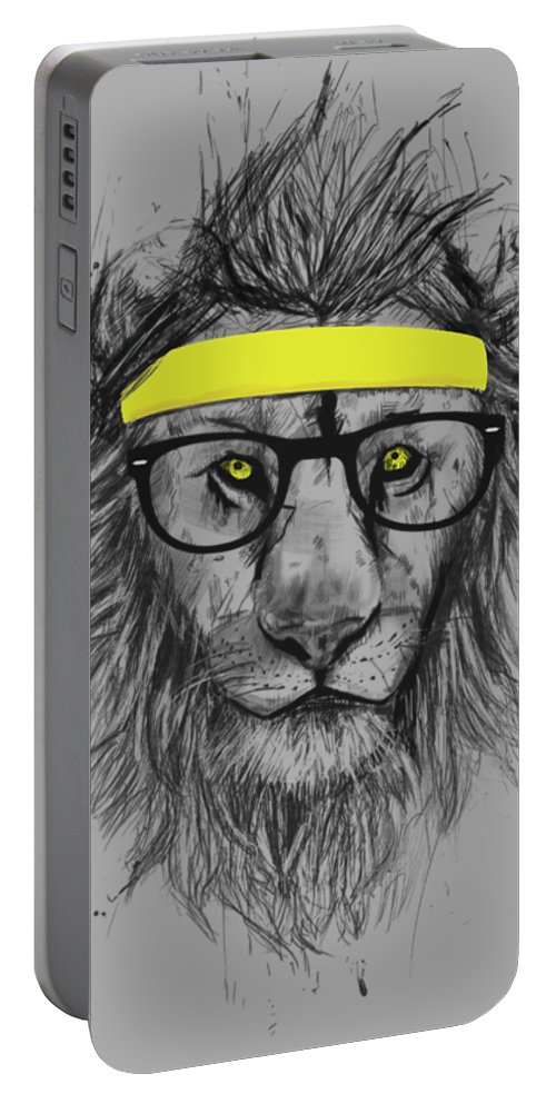 Lion Portable Battery Charger featuring the drawing Hipster lion by Balazs Solti