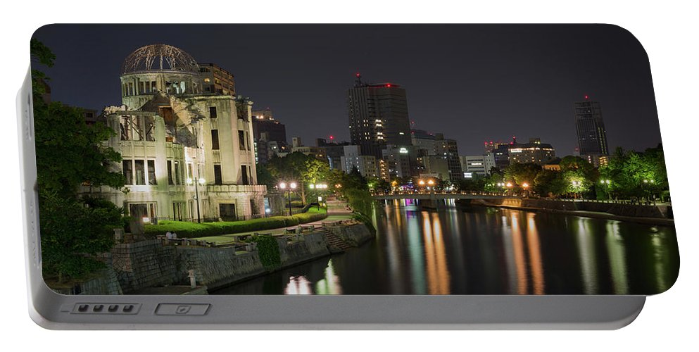 Japan Portable Battery Charger featuring the photograph Hiroshima At Night by Sam Garcia