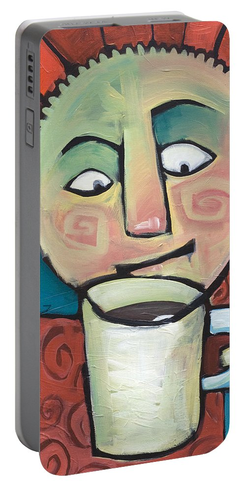 Smile Portable Battery Charger featuring the painting His Coffee Spoke To Him by Tim Nyberg