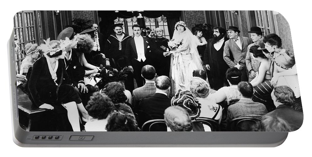 -weddings & Gowns- Portable Battery Charger featuring the photograph His Last False Step, 1919 by Granger