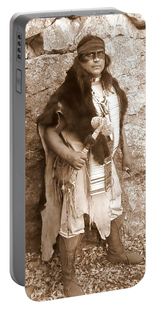 Indian Warclub Scout Sepia Apache Bear Hide Portable Battery Charger featuring the photograph His Warclub by Cindy New