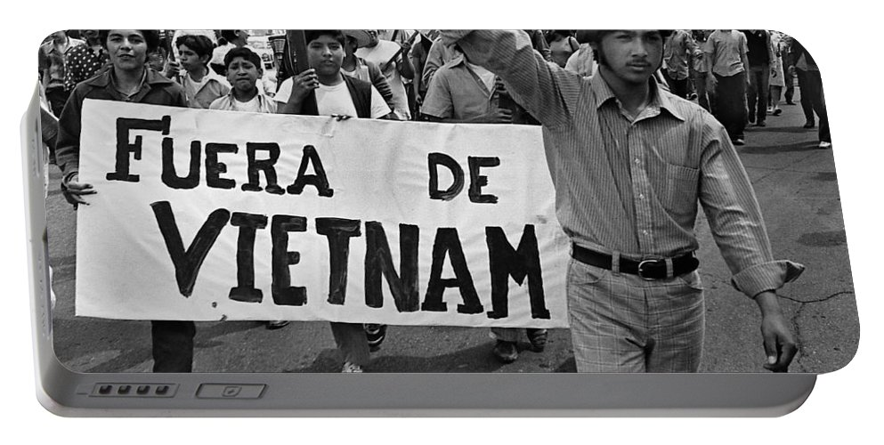 Hispanic Anti-viet Nam War March 2 Tucson Arizona 1971 Portable Battery Charger featuring the photograph Hispanic Anti-viet Nam War March 2 Tucson Arizona 1971 by David Lee Guss
